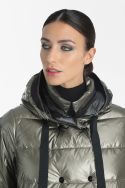 Double-breasted metallic women coat