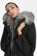 Elegant women hood parka with fur Sauris