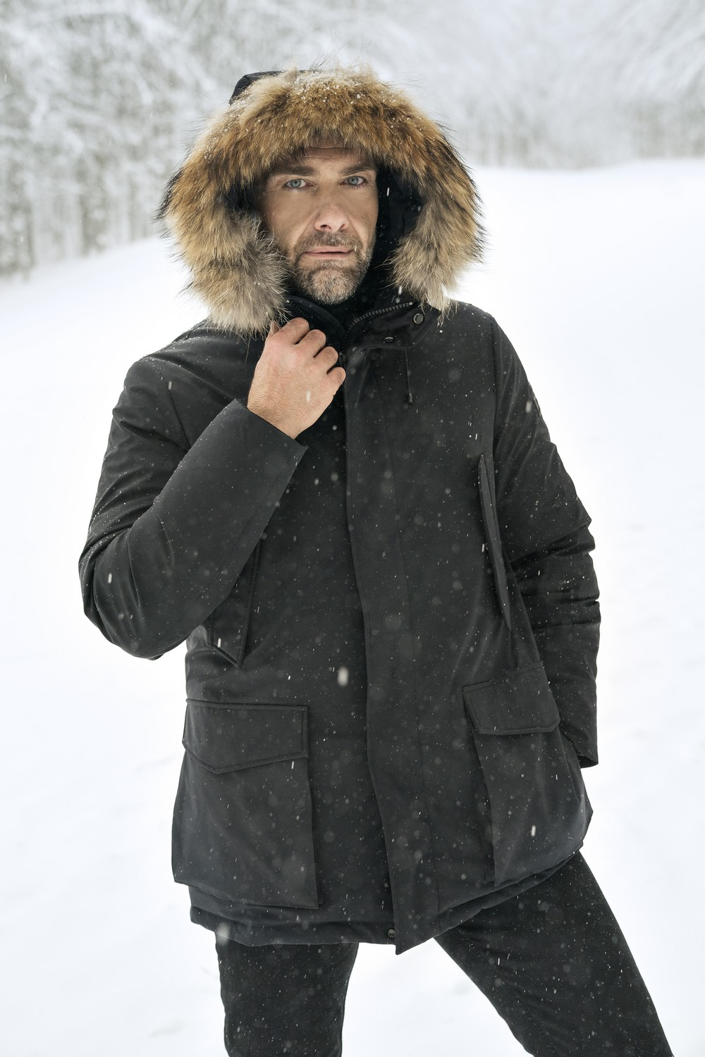 Marcos Black Down Parka for Man